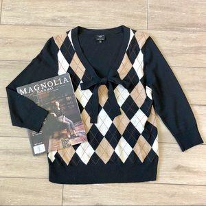 Talbot's Merino Wool Argyle Bow Sweater Black 3/4